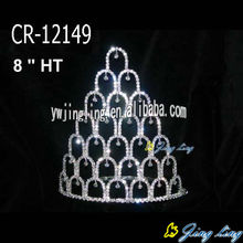 "8 "" Silver Beauty Pageant Tiaras Crowns"