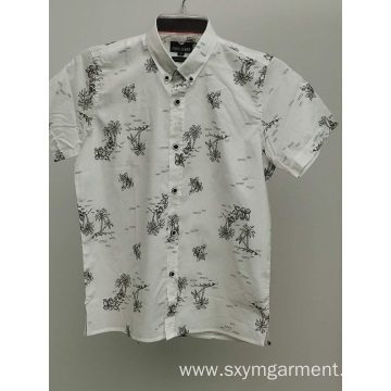 Boys cotton voile print short sleeve shirt