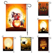2020 New Halloween Garden Flag Cartoon Pumpkin Ghost Witch Bat Old Castle Print Seasonal Outdoor Hanging Decoration