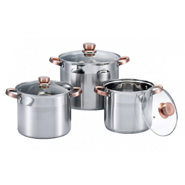 Everyday stainless steel soup pot with glass lid