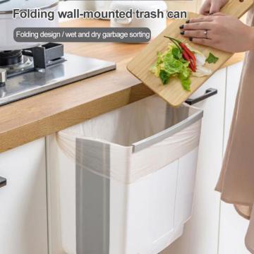 NEW Folding Trash Can Kitchen Cabinet Garbage Door Hanging Can Wall Mounted Trash Bin Car Toilet Waste Storage Drop Ship
