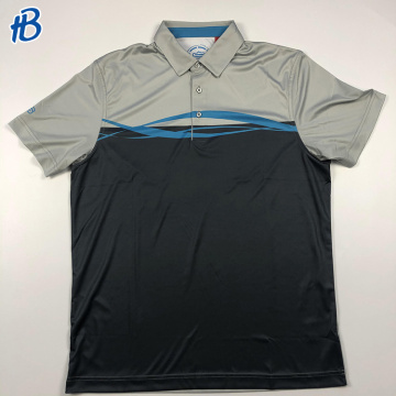 grey and black with blue streaks premium equestrian polo shirts for men