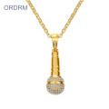 Mens Hip Hop Crystal Microphone Gold Pendant Necklace