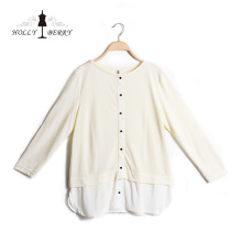 Two Piece Knitted Womens Crew Neck Lace Blouse