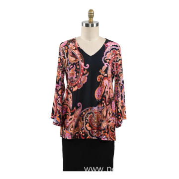Autumn women t shirt Fix Print Loose Tops
