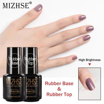 MIZHSE 2pcs/set Rubber Base Top For Nails Polish Primer Base And Top Coat Set Hybrid Nail Polish All for Manicure Nail Art
