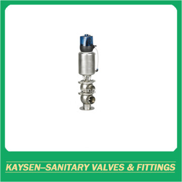 Sanitary pneumatic diverter seat valve with welding end