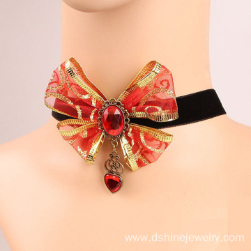 Red Gems Bowknot Gold Velvet Lace Necklace