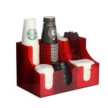 Acrylic Coffee Condiment and Cup Organizer 7 Compartments