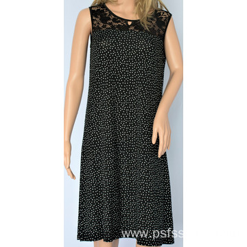 Sleeveless Dress with Lace Design