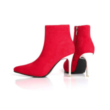 Red Pointed Toe Stiletto Heel Booties for Women