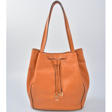 Leather Overarm Bucket Handbag with twin tassels