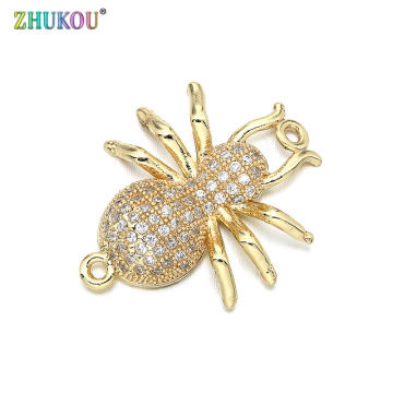 19*23mm Handmade Brass Cubic Zirconia Spider Charms Connector for Diy Jewelry Findings, Hole: 1.2mm, Model: VS260