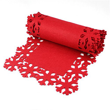 Christmas red felt table placemat with snowflake pattern