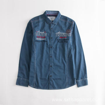 Anti-wrinkle Men's Embroidered Blue Denim Shirt Jacket
