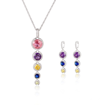 Fashion Long Drop Colorful CZ Jewelry Set