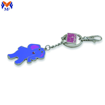 Metal Custom Nameplate Design Elephant Colorful Keychain