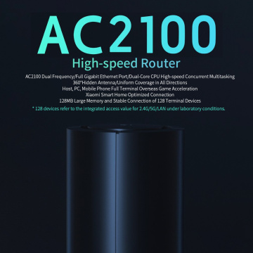 Xiaomi AC2100 High-speed Router Dual Frequency Band WiFi 128MB 2.4GHz 5GHz 360° Coverage Dual Core CPU Game Remote APP Control