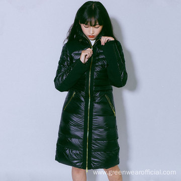 Women`s Nylon long down jacket