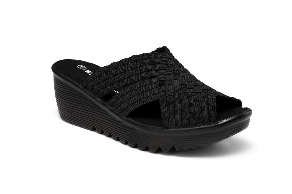 All Black Woven Slippers