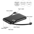 Built-in micro usb type c cable power bank