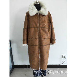 Leather thickness winter coat with fur