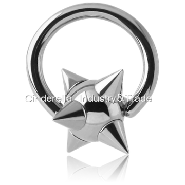 Steel Ball Closure Rings with Spikey Ball