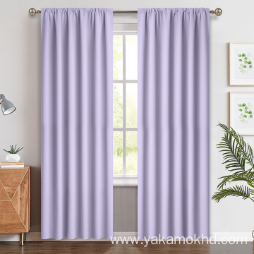 Lilac Blackout Curtains with Rod Pocket