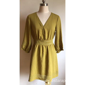 Dress with 3/4 Sleeve Silk Cotton Viscose dress