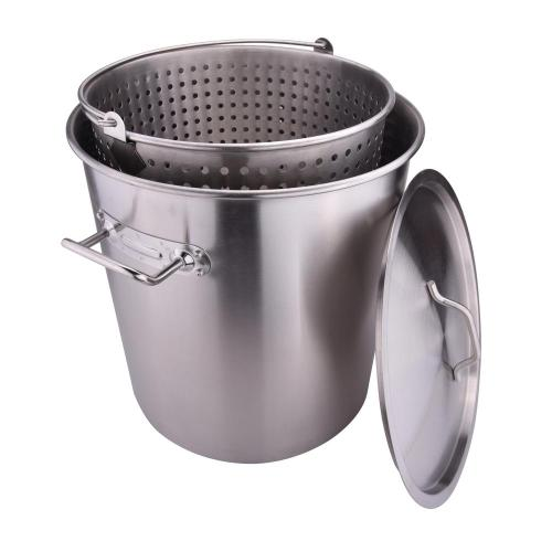 64QT Stainless Steel Stock Pot with Basket