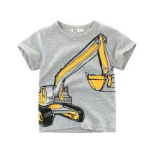 Boys Tops 2020 Kids Clothes Excavator Cotton Summer Short Sleeve Children Sweatshirt 2 3 4 5 6 7 8 Years T-shirts for Boy