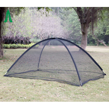 Lightweight outdoor mesh tent in the courtyard