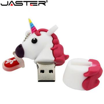 JASTER New Style Cartoon Unicorn Pen Drive 64gb 32gb usb flash drive cute horse pendrive real capacity 4gb 16gb memory stick