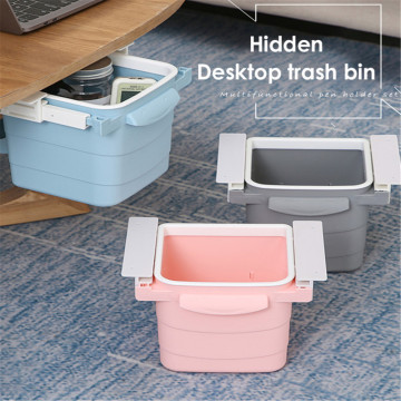 Invisible Push-Pull Retractable Trash Can Drawer Storage Box Office Household Table Under Table Garbage Bin Portable Waste Bins