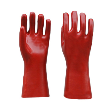 Red PVC gloves smooth finish interlock liner 14""