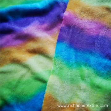 Polyester Colorful Print Thick Flannel Knitted Textile