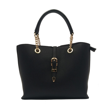 Black  Simple Sling Tote Bag With Zipper