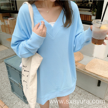 Casual all-match v-neck blue blouse