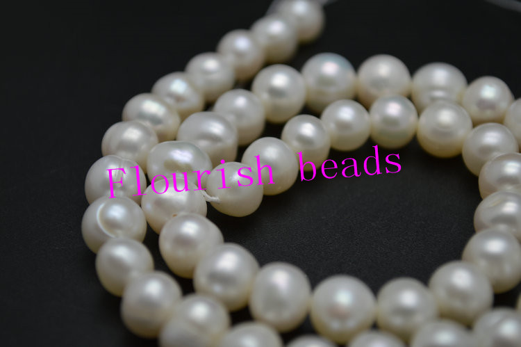 8~9mm Good Quality Natural White Fresh Water Pearl Potato Round Loose Beads