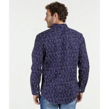 Mens 100% Cotton Casual Long Sleeve Printed Shirts