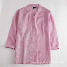 Ladies Blouses Embroidered Cotton Slim Fit Jacket Shirt