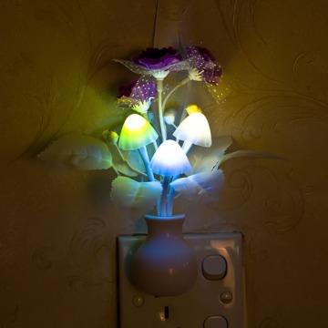 Dark automatic bright US plug LED Novelty light Mushroom Lilac Flower light sensor night lamp Home decoration Romantic light