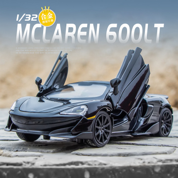 1:32 Die Cast McLaren 600LT Sports Car Model Toy Alloy Simulation Sound Light Pull Back Supercar Toys Vehicle For Gift