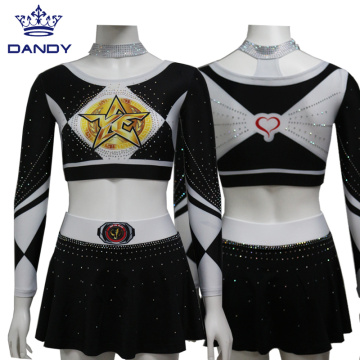 Custom Shining Rhinestone Cheerleading uniforms for youth