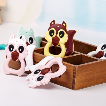 Squirrel silicone baby teething toy wholesale