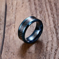 Unique carbon fiber mens blue tungsten wedding bands