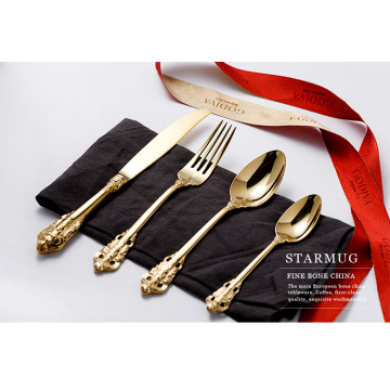 Royal Luxury Curved Handle Gold Flatware Sets