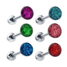 Sparkling Round Enamel Ferido Gem Tongue Ring