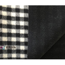 Small Black White Plaid 100% Wool Fabric