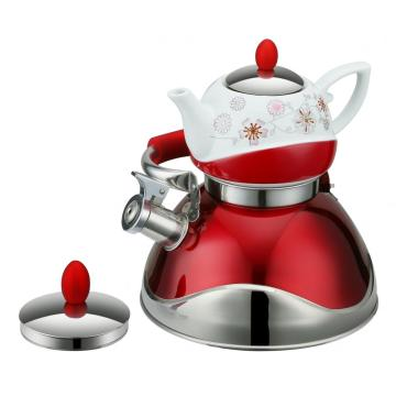 Double Houehold Elegant Red Whistling Kettle